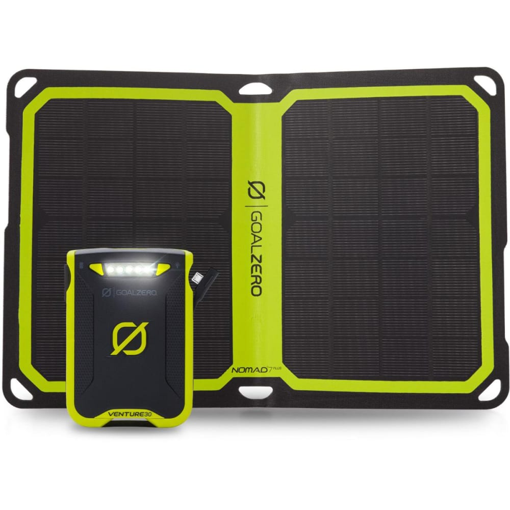 GOAL ZERO Venture 30 Power Bank + Nomad 7 Plus Solar Kit - NO COLOR