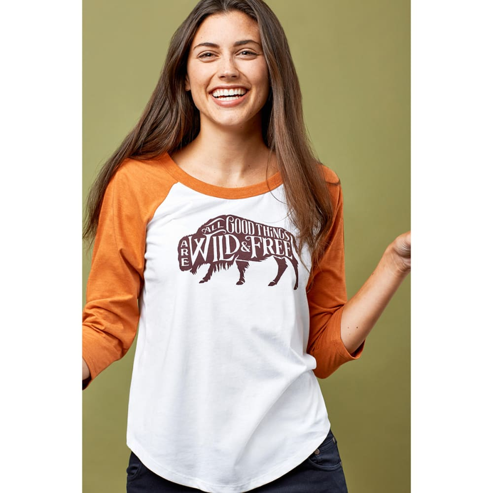 UNITED BY BLUE Women's Wild & Free Baseball Tee - UMBER