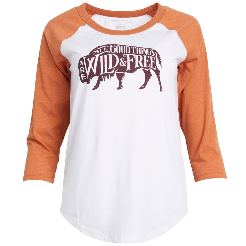 UNITED BY BLUE Women's Wild & Free Baseball Tee S