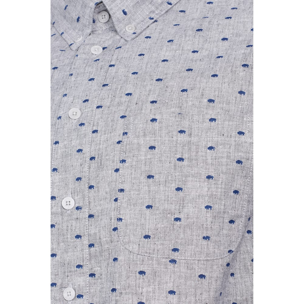 UNITED BY BLUE Men's Bison Print Button-Down Long-Sleeve Shirt - NAVY BISON