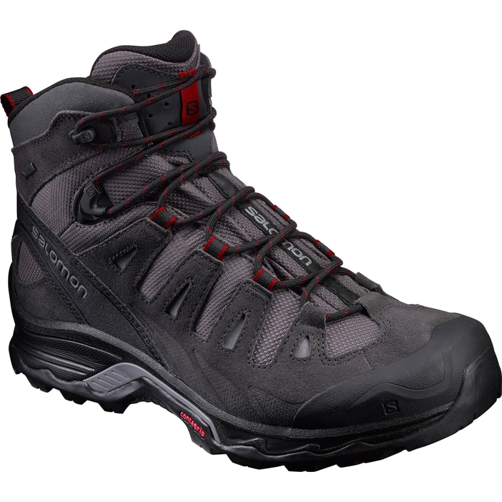 SALOMON Men's Quest Prime GTX Waterproof Mid Hiking Boots - MAGNET/BLK/RED