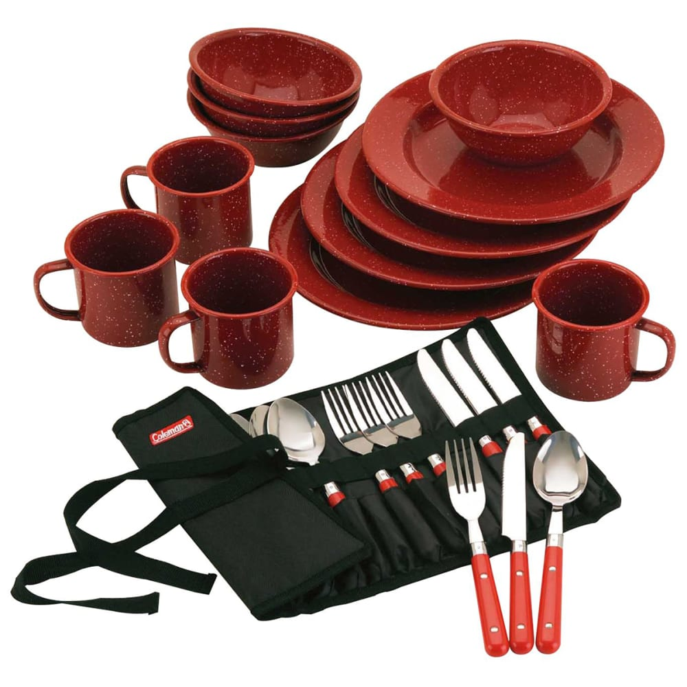 COLEMAN 24-Piece Enamel Dinnerware Set - RED