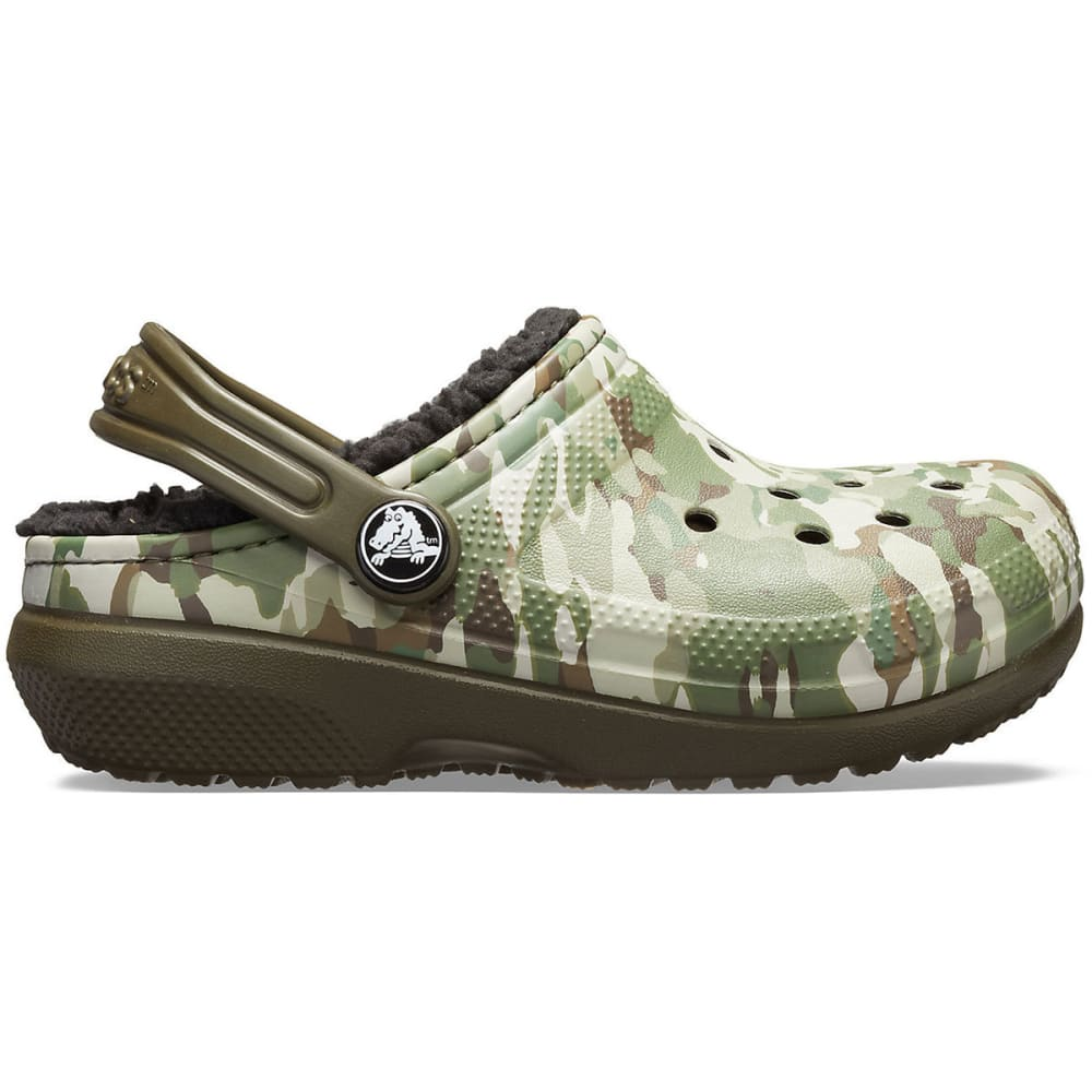 CROCS Boys' Classic Fuzz-Lined Graphic Clogs - CAMO/BLK-3R3