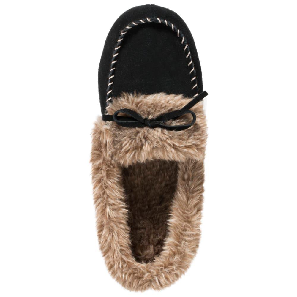 ACORN Women's Faux Fur Moc Slippers - BLACK-BLK