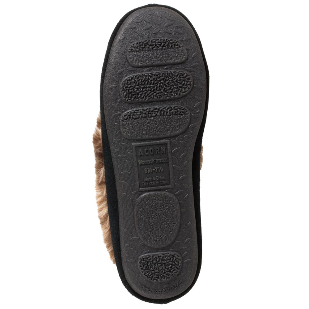 ACORN Women's Faux Fur Moc Slippers - BLACK-BLK