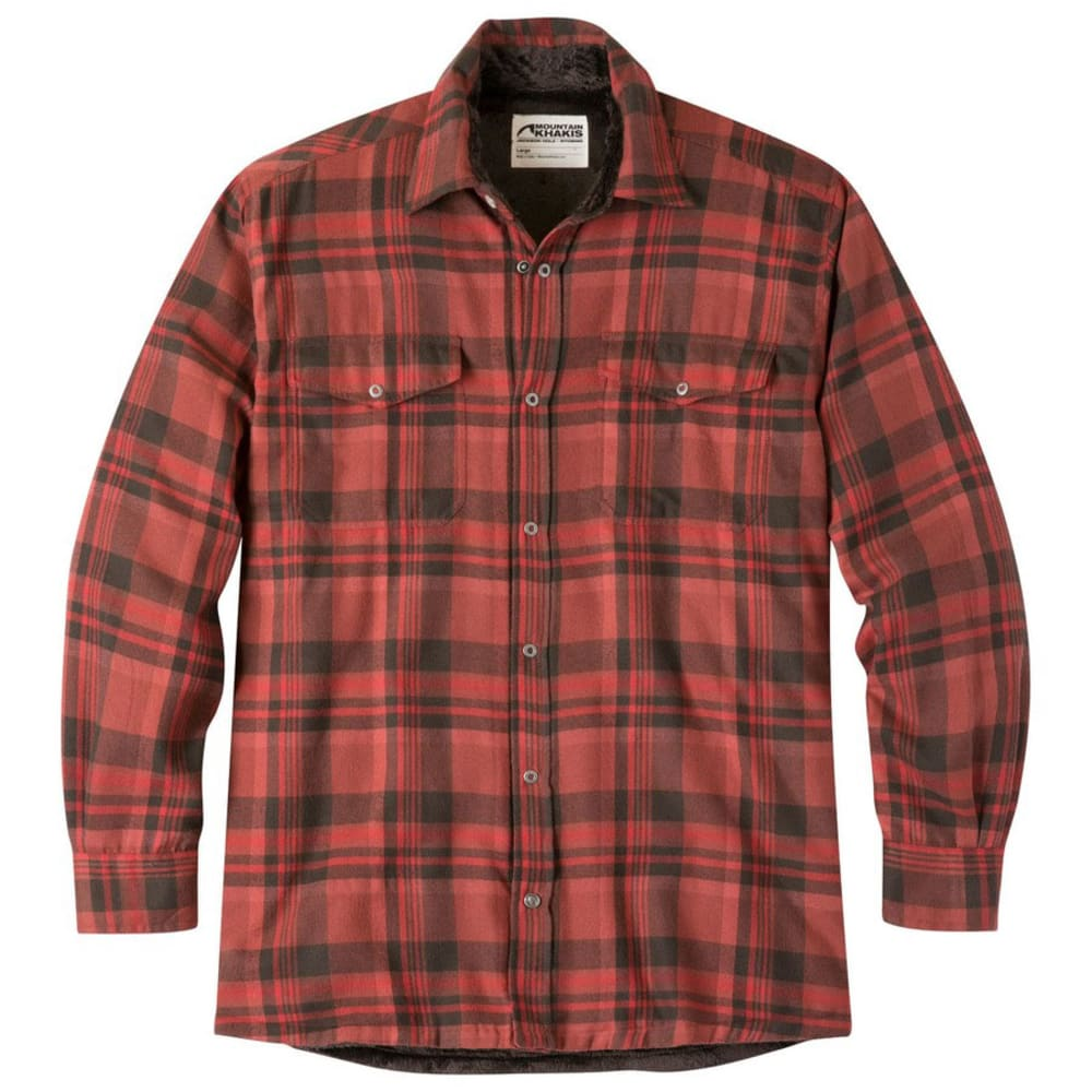 MOUNTAIN KHAKIS Men's Christopher Long-Sleeve Fleece-Lined Shirt - ENGINE RED PLAID-127
