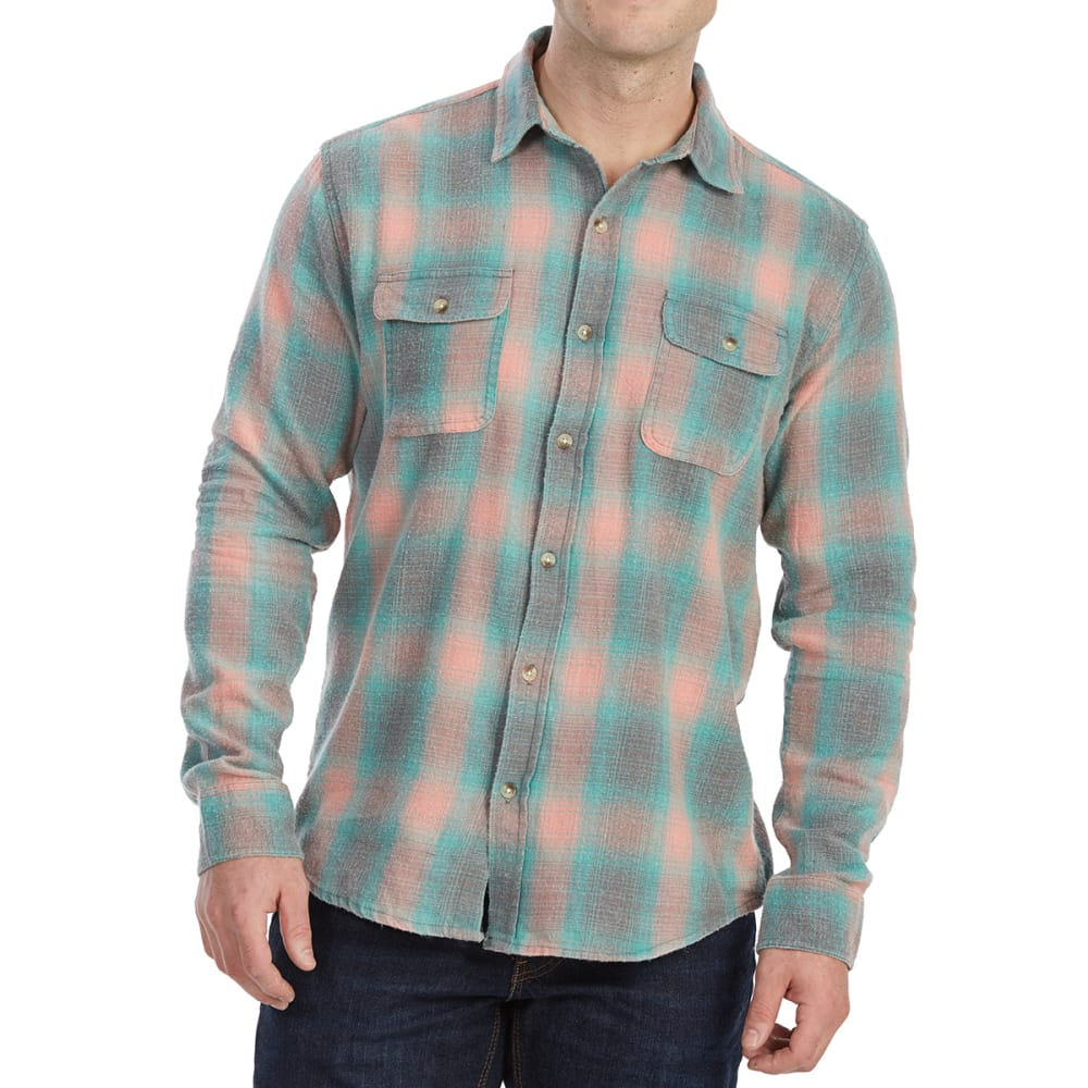 FREE NATURE Guys' Yarn-Dyed Long-Sleeve Flannel Shirt - CHARCOAL