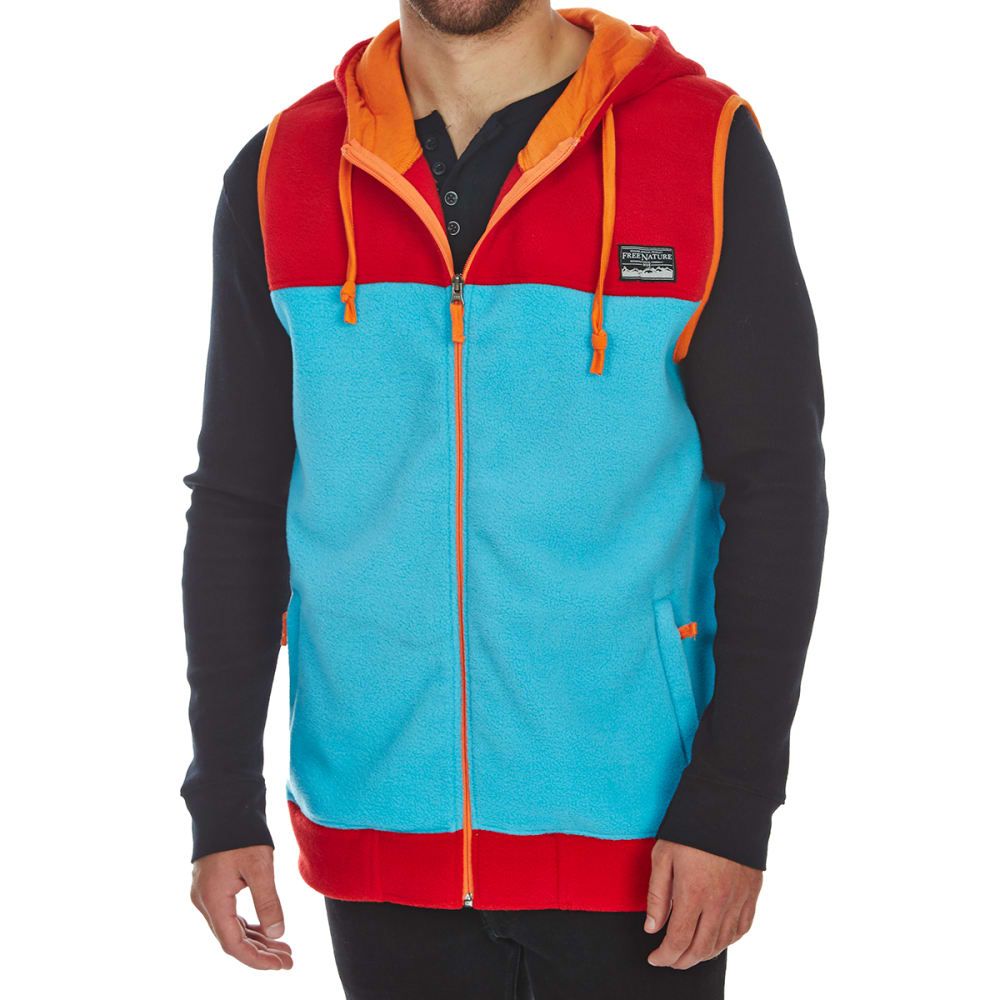 FREE NATURE Guys' Hooded Polar Fleece Zip-Up Vest - TRUE RED
