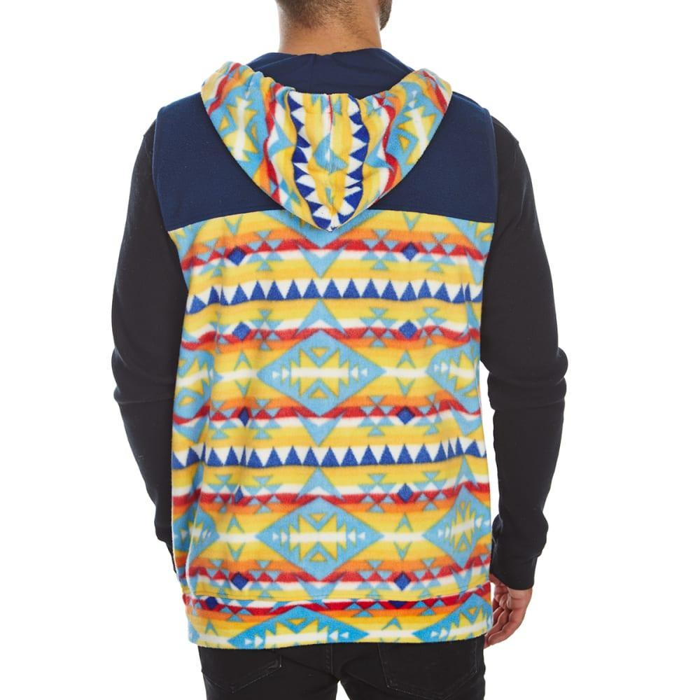 FREE NATURE Guys' Hooded Polar Fleece Zip-Up Vest - NAVY