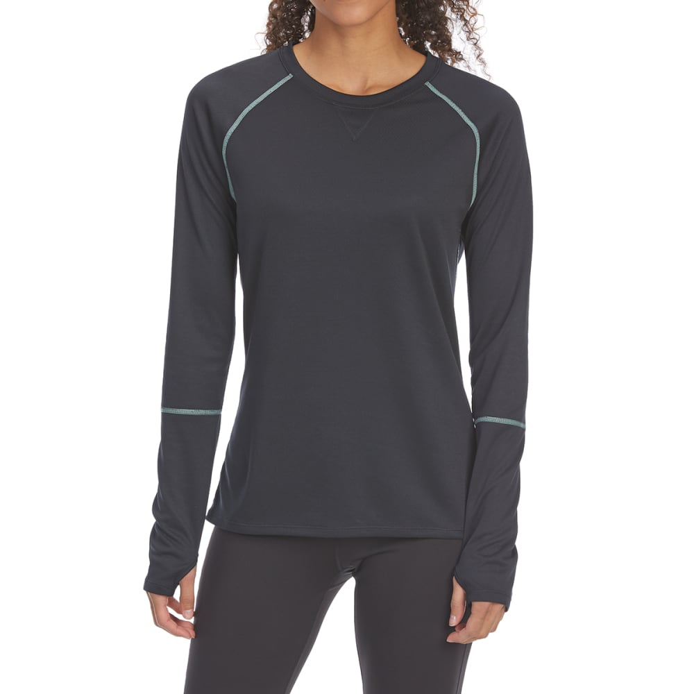 EMS Women's Techwick Midweight Long-Sleeve Crew Base Layer Top - ANTHRACITE