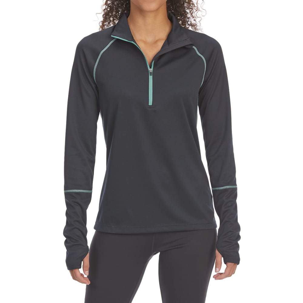 EMS Women's Techwick Midweight 1/4 Zip Base Layer Top - ANTHRACITE