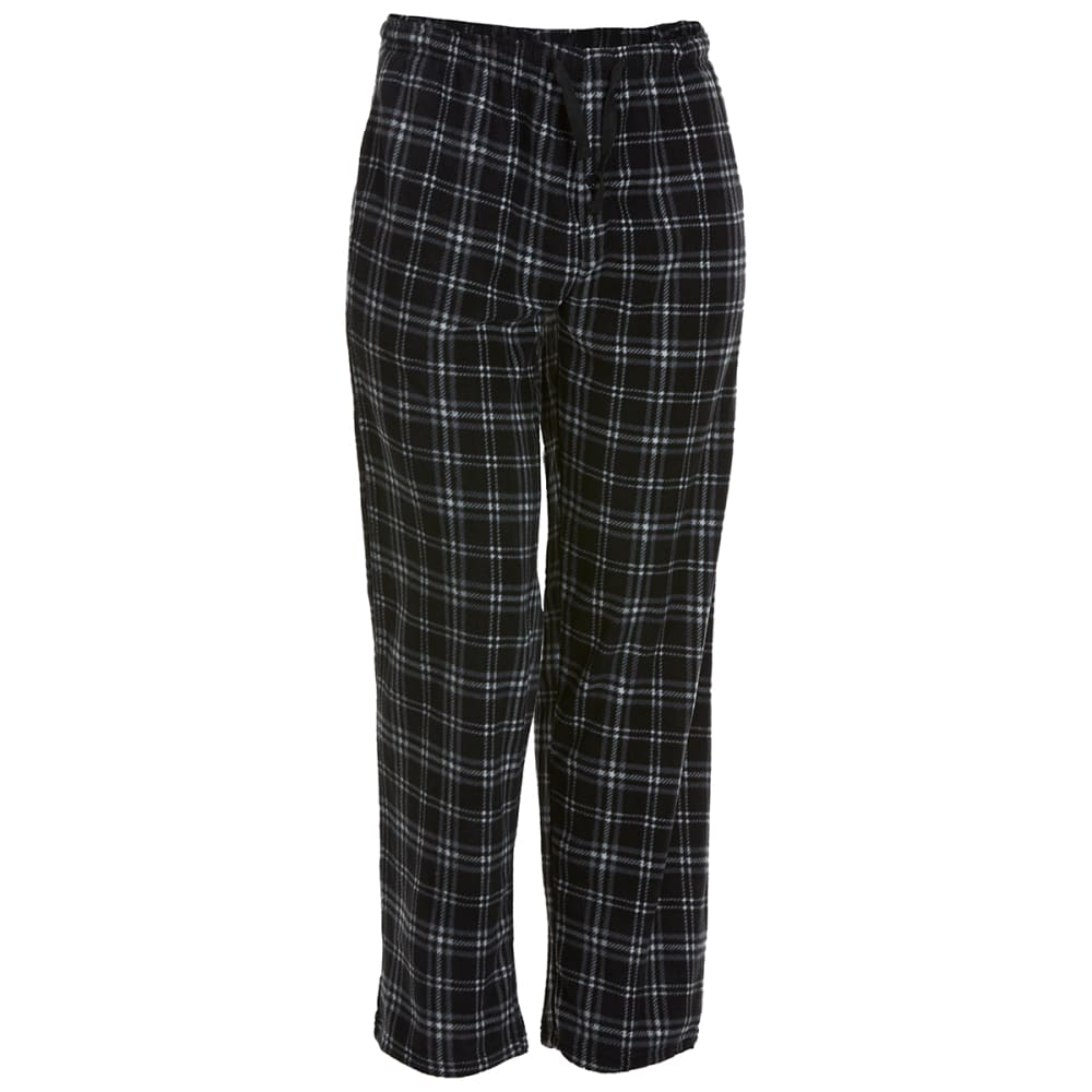 GELERT Men's Plaid Fleece Lounge Pants - BLK/SMOKE PLAID