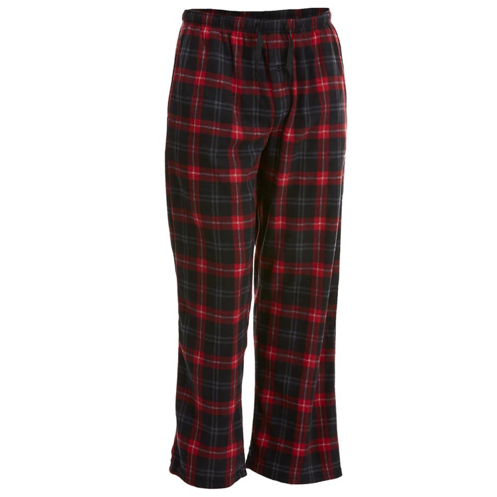 GELERT Men's Plaid Fleece Lounge Pants - RED/BLK PLAID