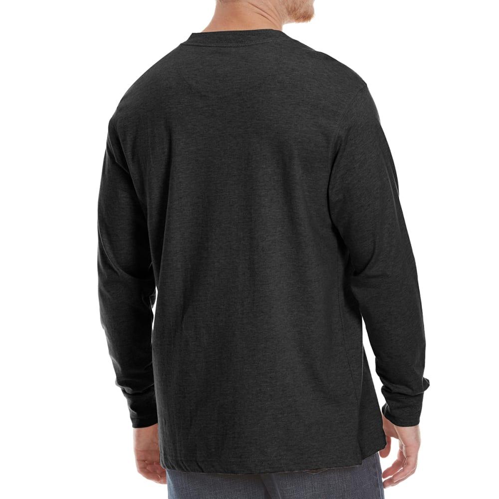 GELERT Men's Sueded Long-Sleeve Henley - BLACK