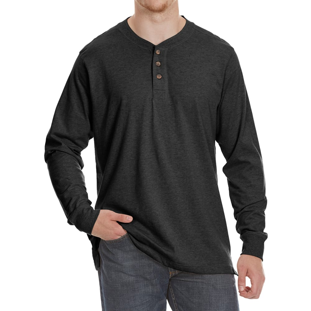 GELERT Men's Sueded Long-Sleeve Henley - BLACK