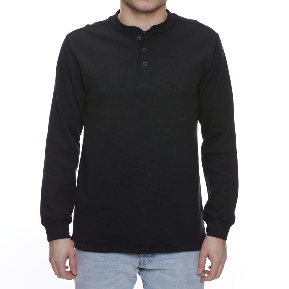 GELERT Men's Thermal Long-Sleeve Henley - BLACK