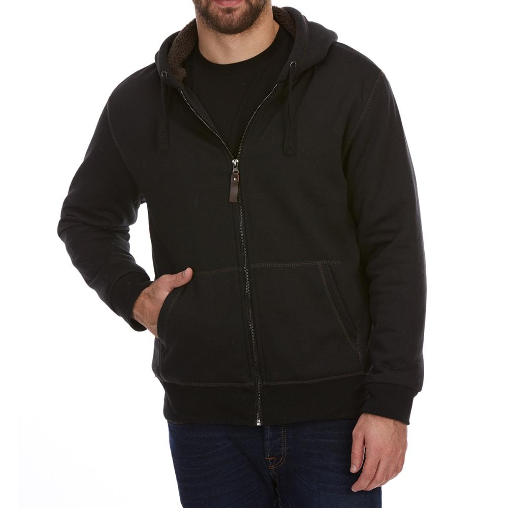 DUNLOP Men's Sherpa-Lined Full-Zip Hoodie - BLACK