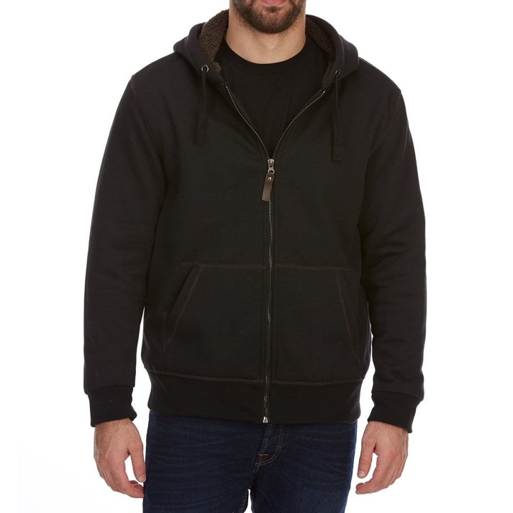 DUNLOP Men's Sherpa-Lined Full-Zip Hoodie - BLACK