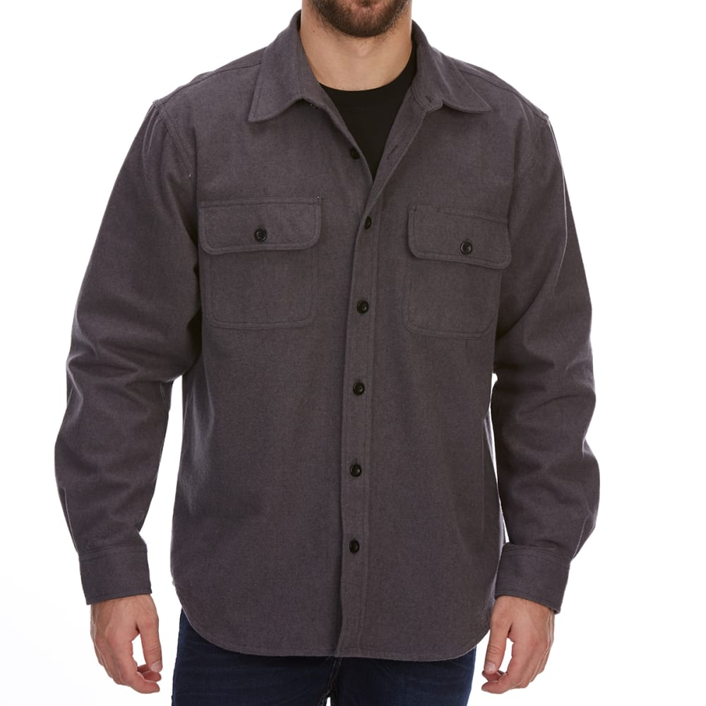 DUNLOP Men's Solid Chamois Long-Sleeve Shirt - CHARCOAL