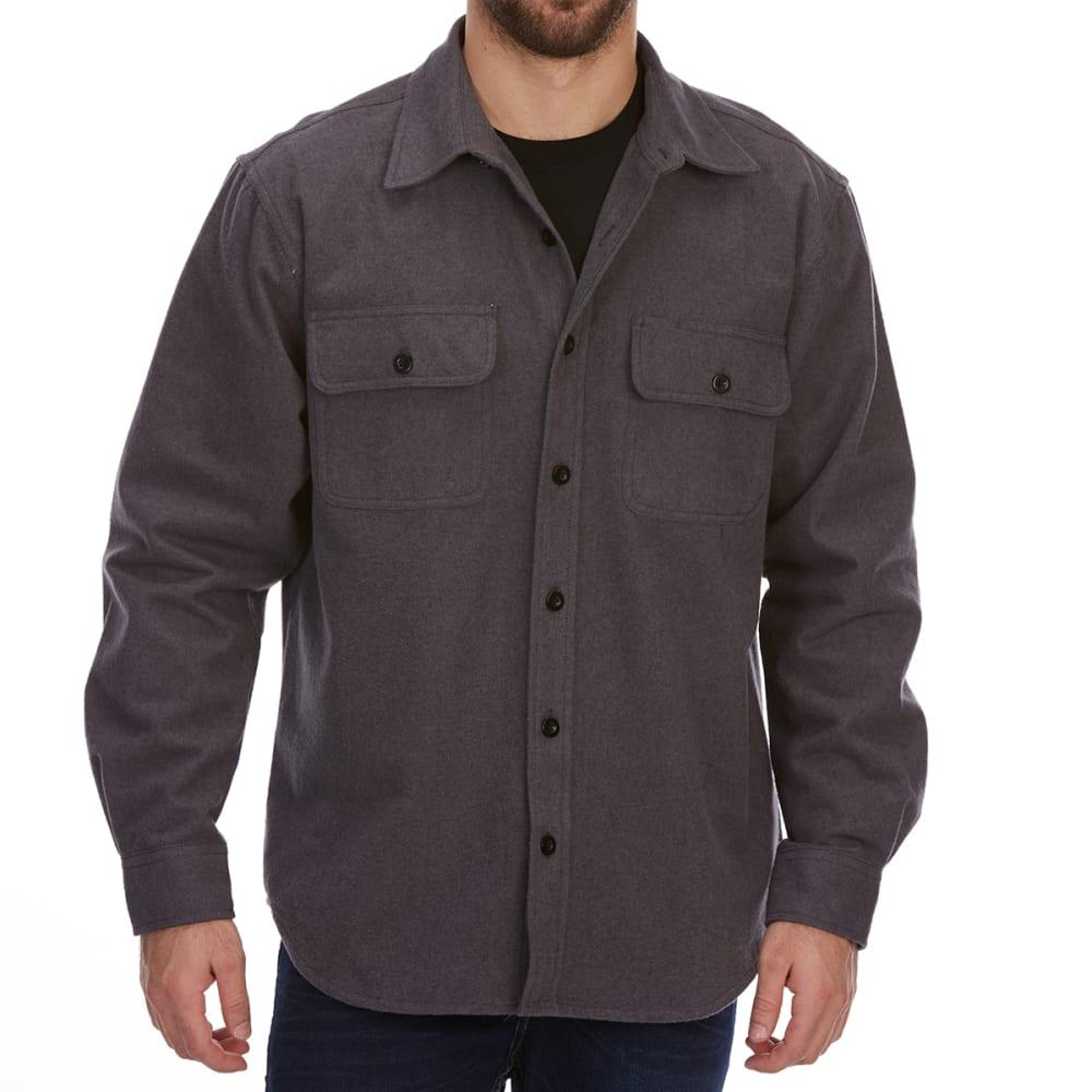 DUNLOP Men's Solid Chamois Long-Sleeve Shirt - CHARCOAL