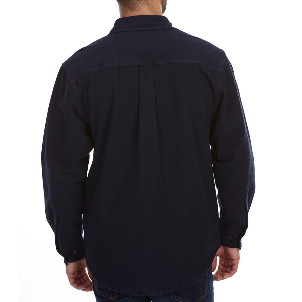 DUNLOP Men's Solid Chamois Long-Sleeve Shirt - NAVY