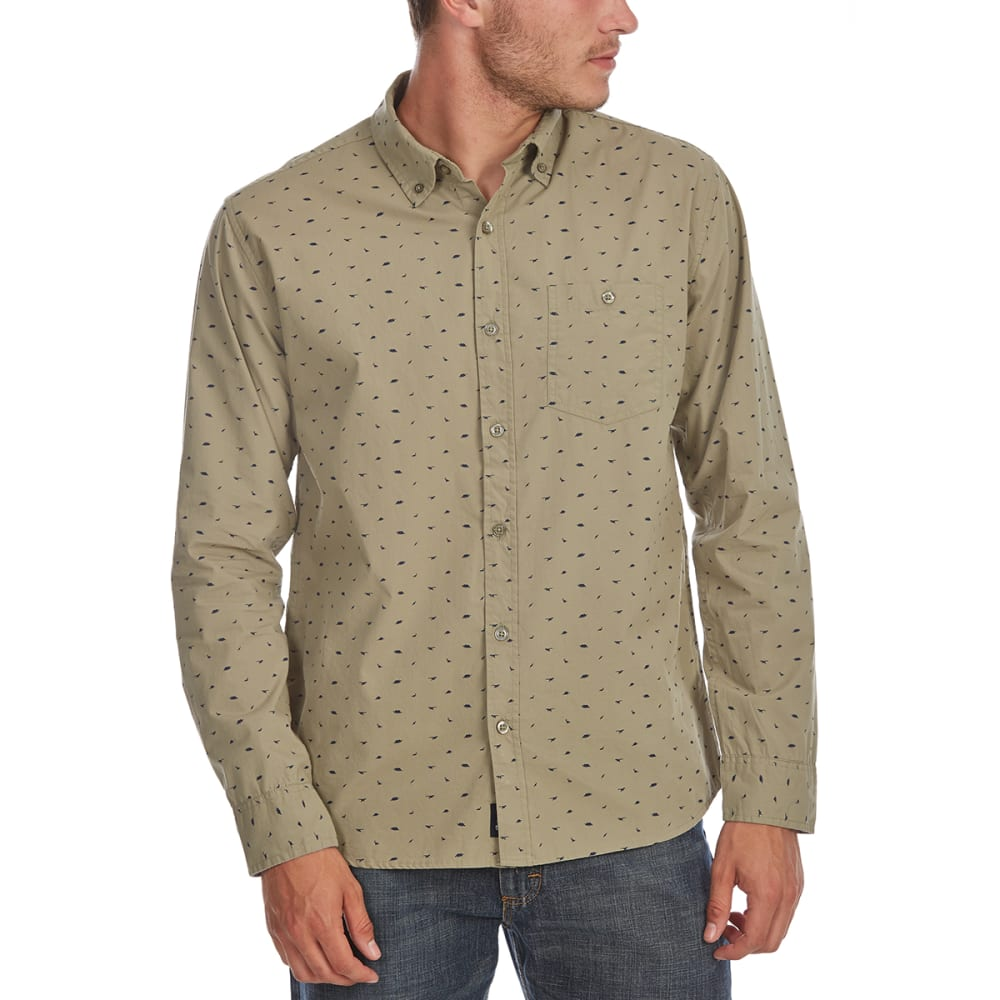 ARTISTRY IN MOTION Guys' Dino Print Woven Long-Sleeve Shirt - LT OLIVE