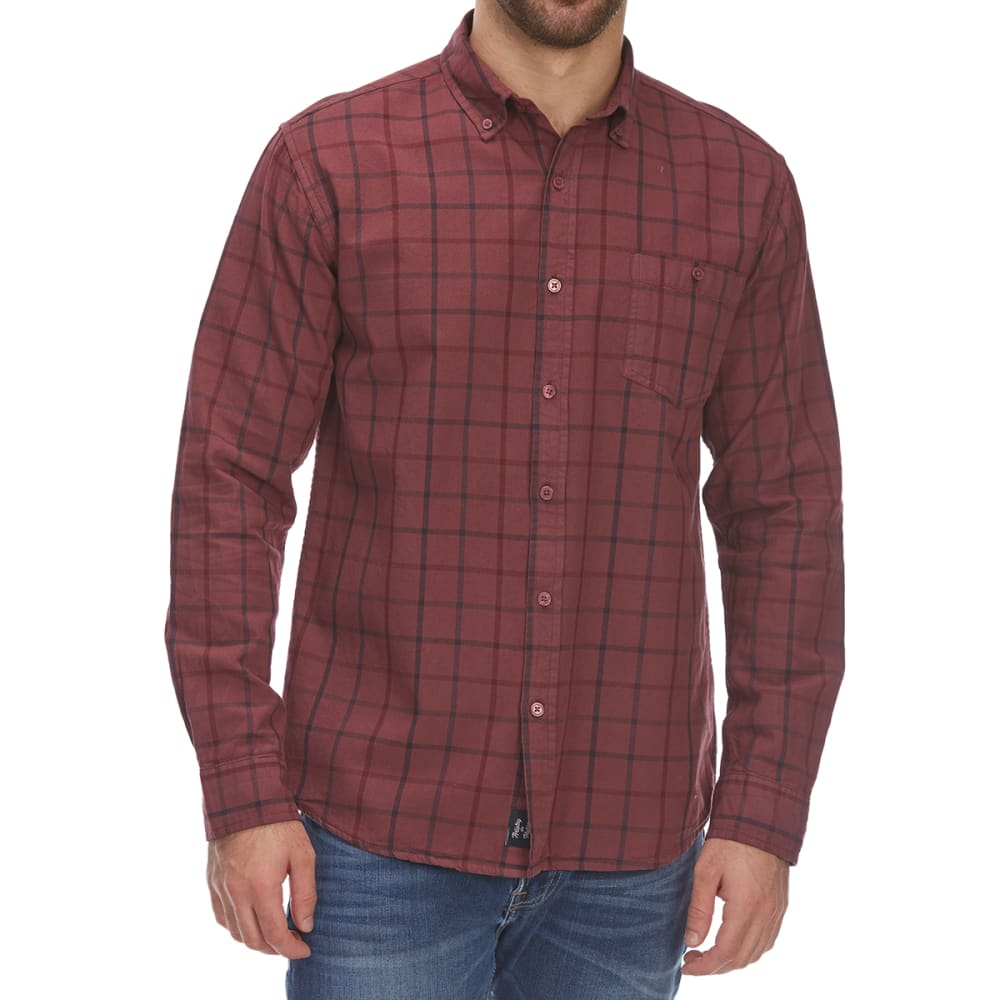 ARTISTRY IN MOTION Guys' Over-Dye Plaid Woven Long-Sleeve Shirt - PLUM