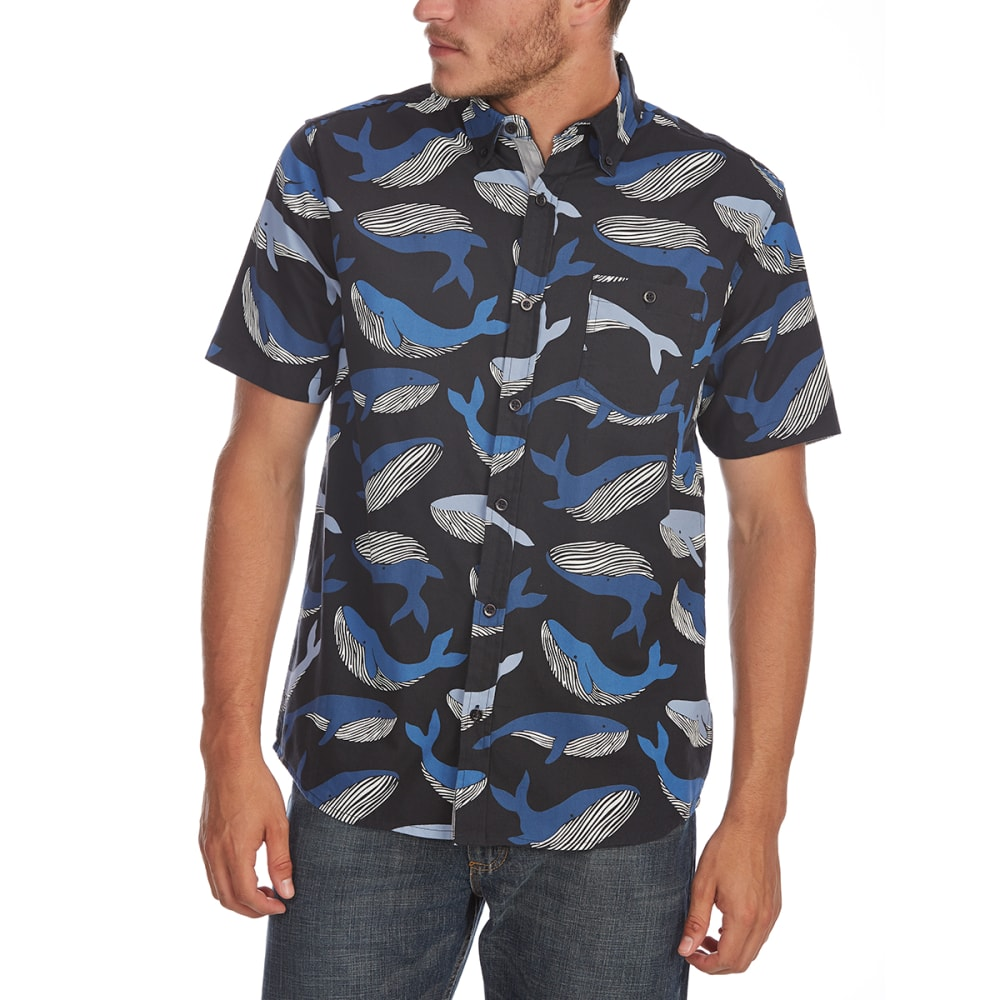 ARTISTRY IN MOTION Guys' Whale Print Woven Short-Sleeve Shirt - NAVY
