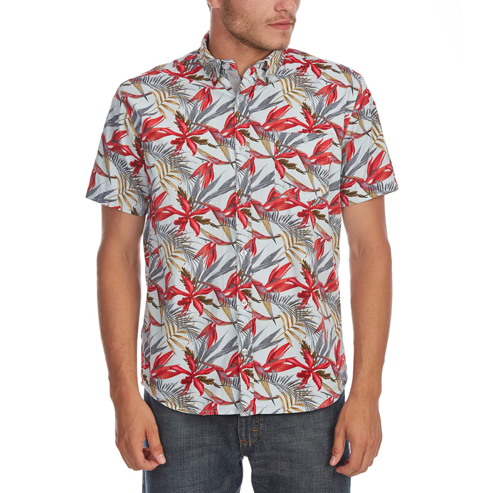 ARTISTRY IN MOTION Guys' Tropical Print Woven Short-Sleeve Shirt - PALE BLUE