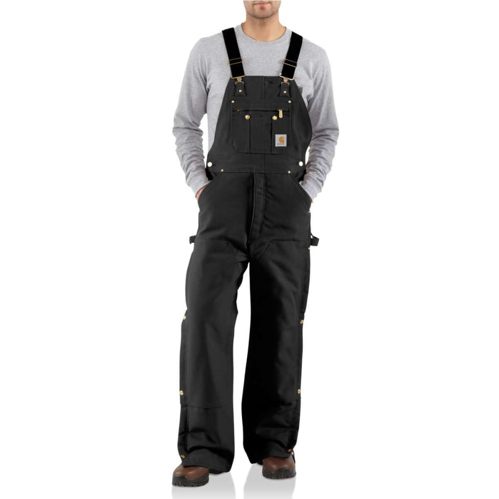 CARHARTT Men's Duck Quilt-Lined Zip-To-Thigh Bib Overalls - BLACK BLK