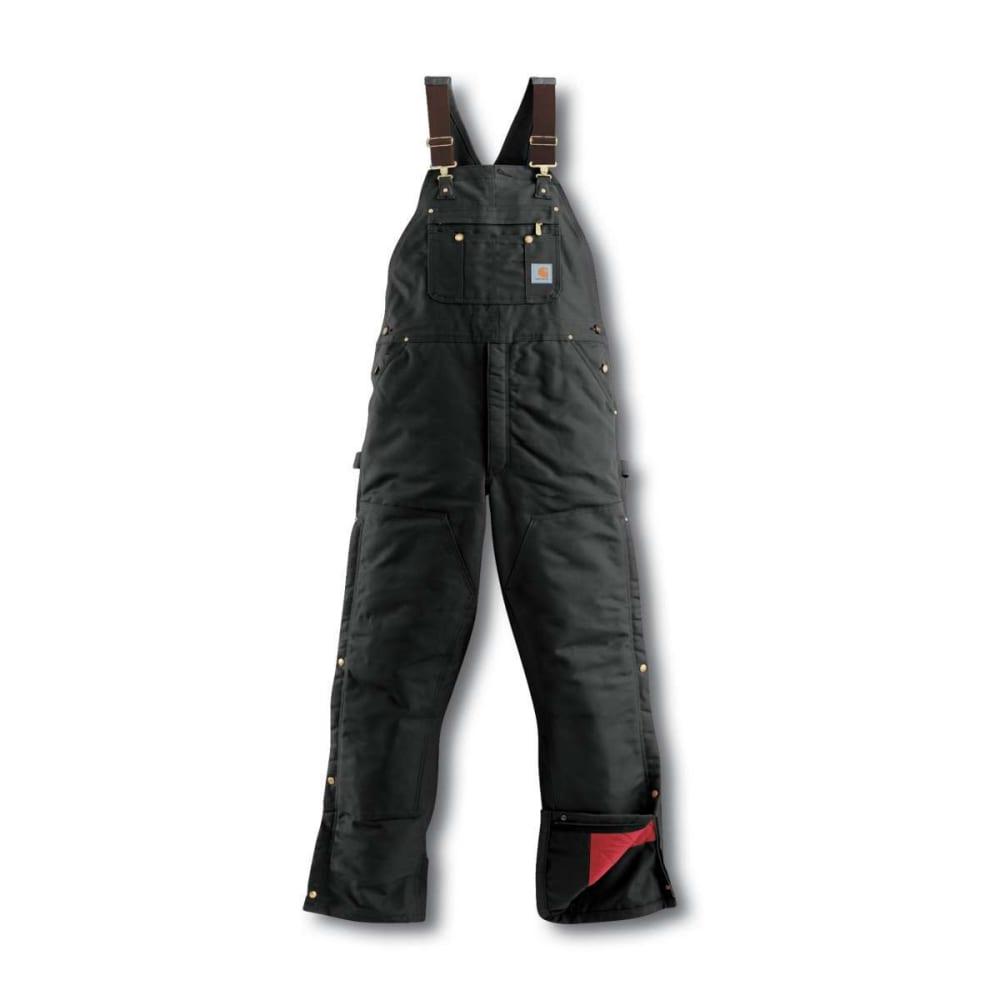 CARHARTT Men's Duck Quilt-Lined Zip-To-Thigh Bib Overalls - BLACK BLK