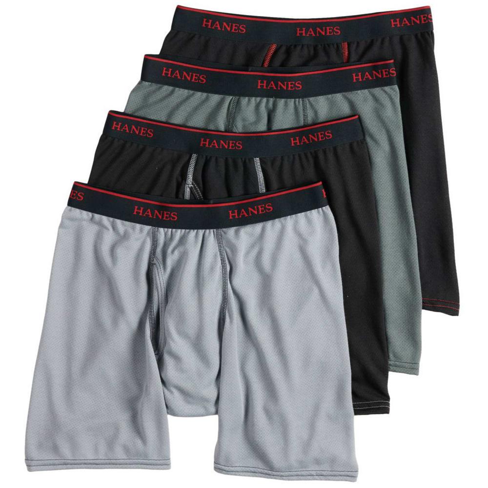HANES Men's Ultimate Sport Mesh Boxer Briefs, 4-Pack S