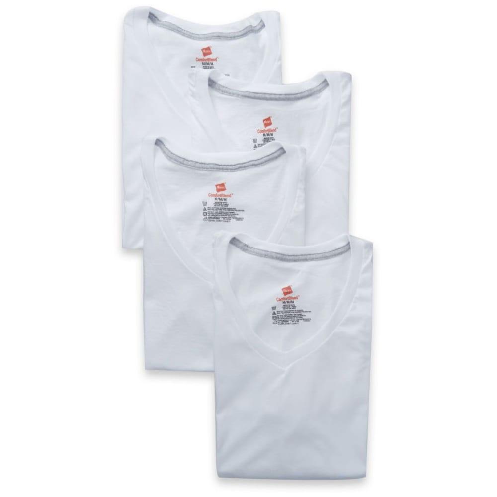 HANES Men's ComfortBlend V-Neck Undershirts, 4-Pack S