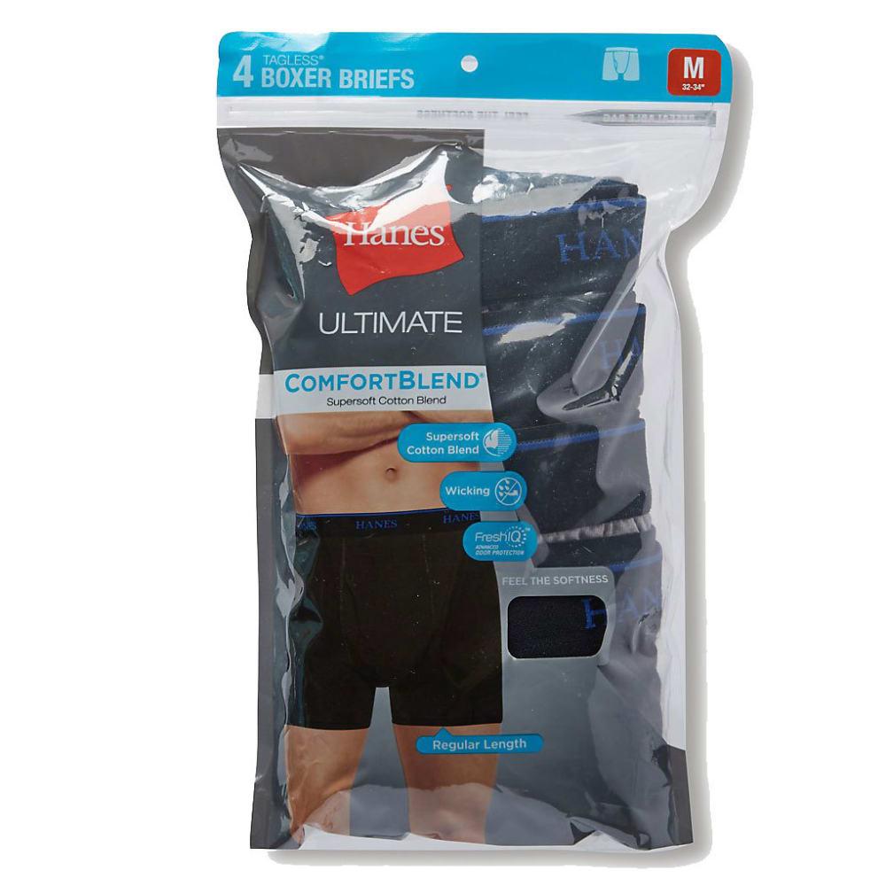 HANES Men's ComfortBlend Boxer Briefs, 4-Pack L