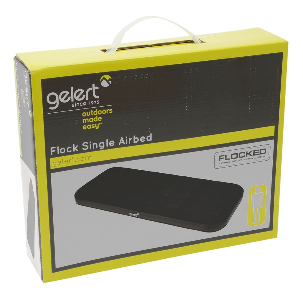 GELERT Flock Airbed, Single - BLACK