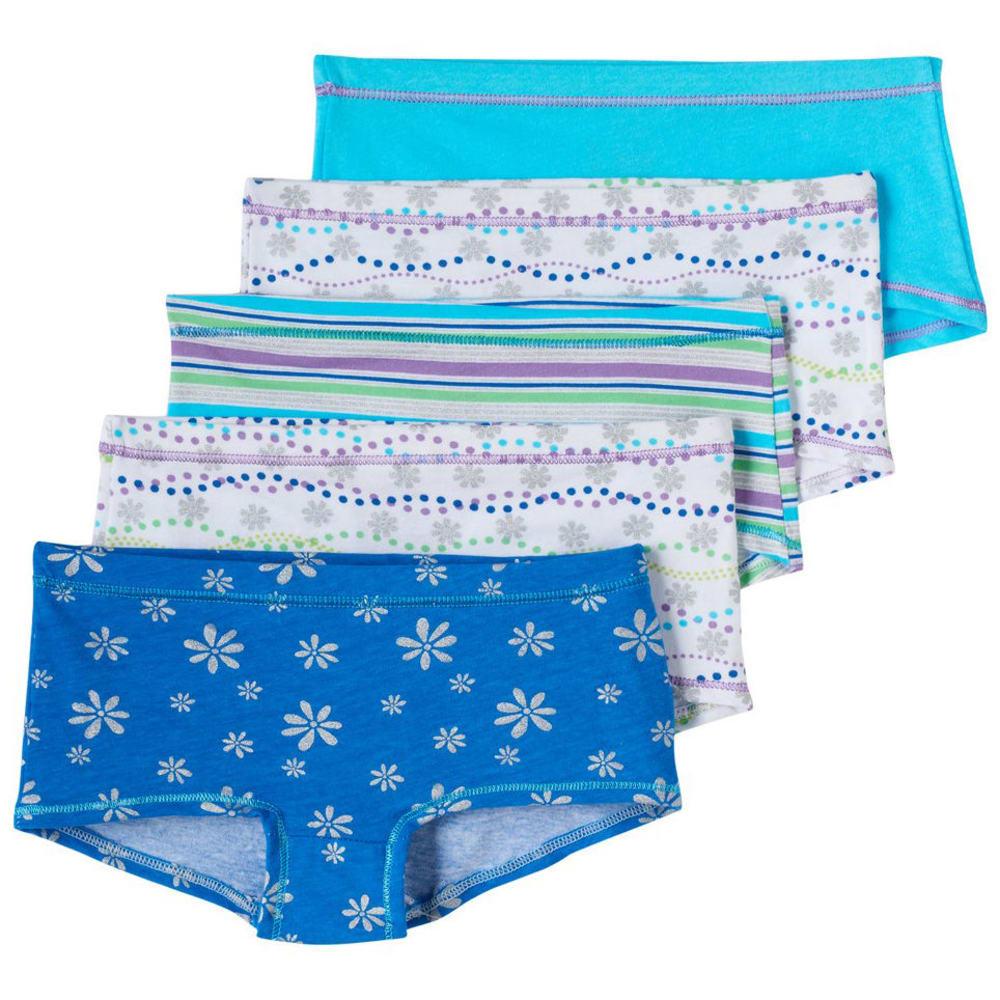 HANES Girls' Cotton Stretch Boy Shorts, 5-Pack 8