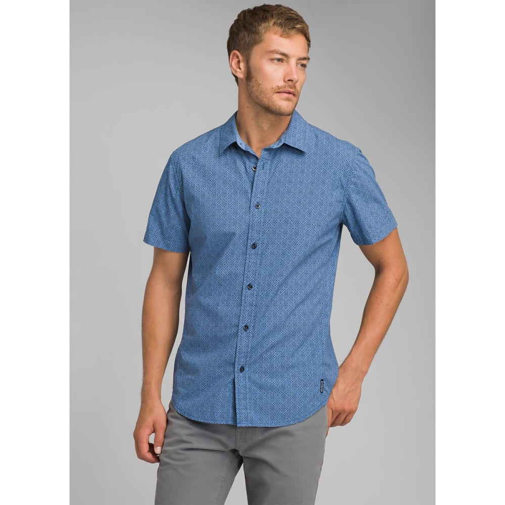 PRANA Men's Ulu Woven Short-Sleeve Shirt - STEEL BLUE GEO