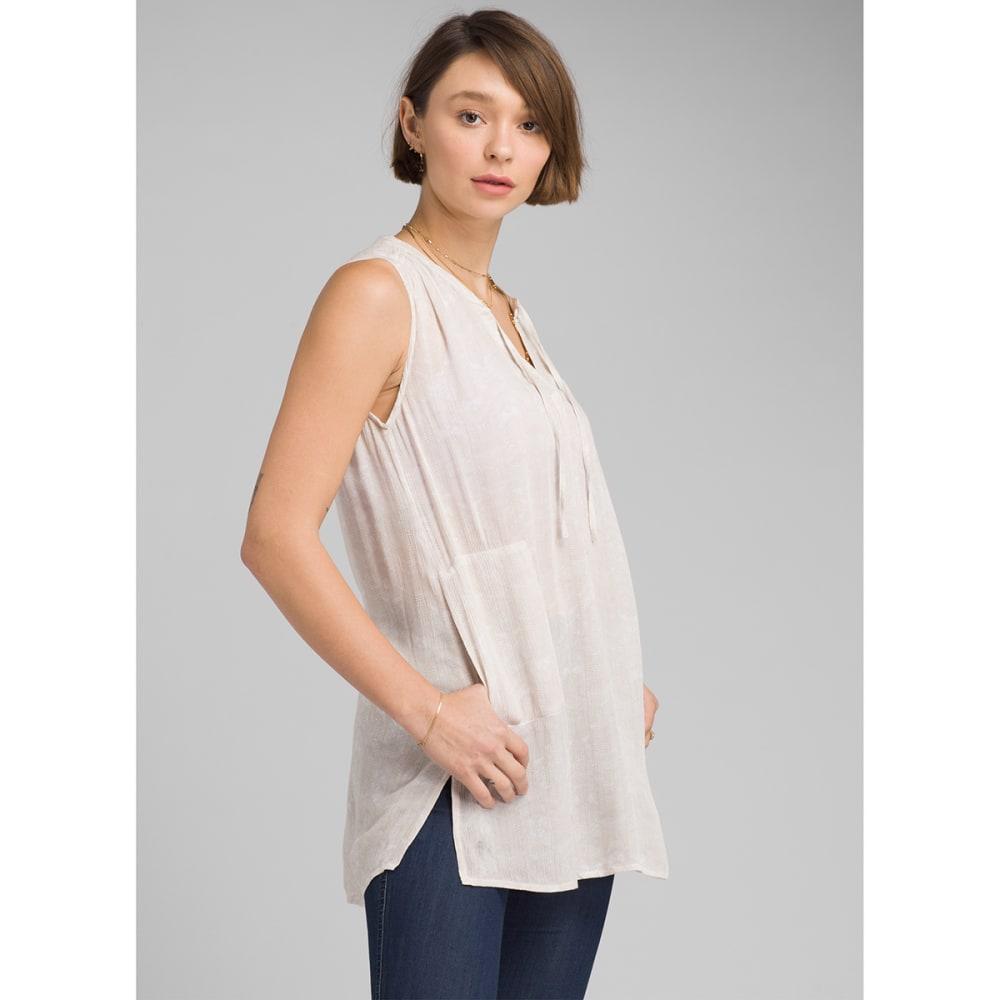 PRANA Women's Natassa Crinkled Sleeveless Tunic Top - WHT AKOA