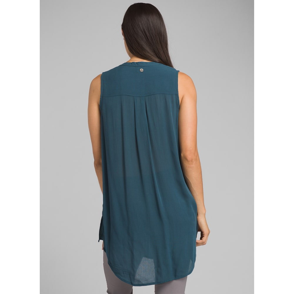 PRANA Women's Natassa Crinkled Sleeveless Tunic Top - PETROL BLUE