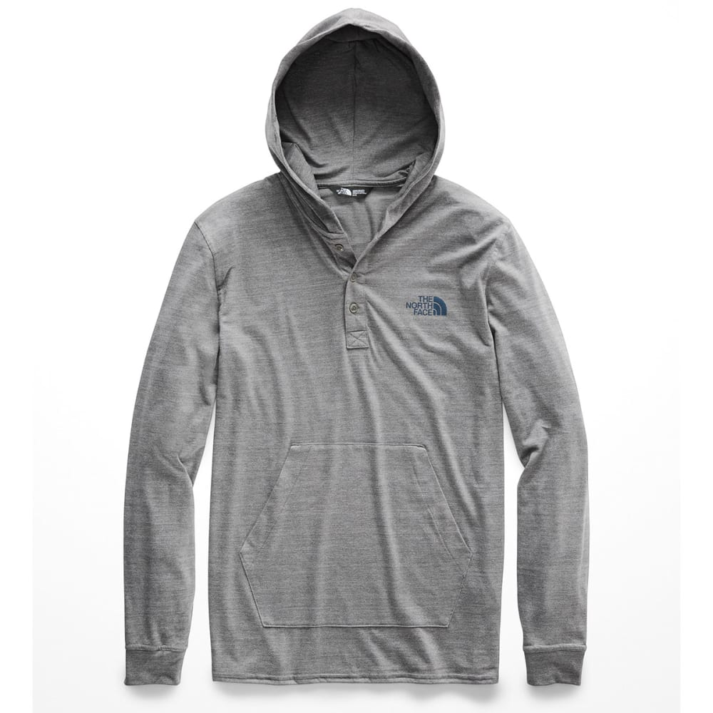 THE NORTH FACE Men's Tri-Blend Henley Hoodie - SXG-TNF MED GRY/U NY
