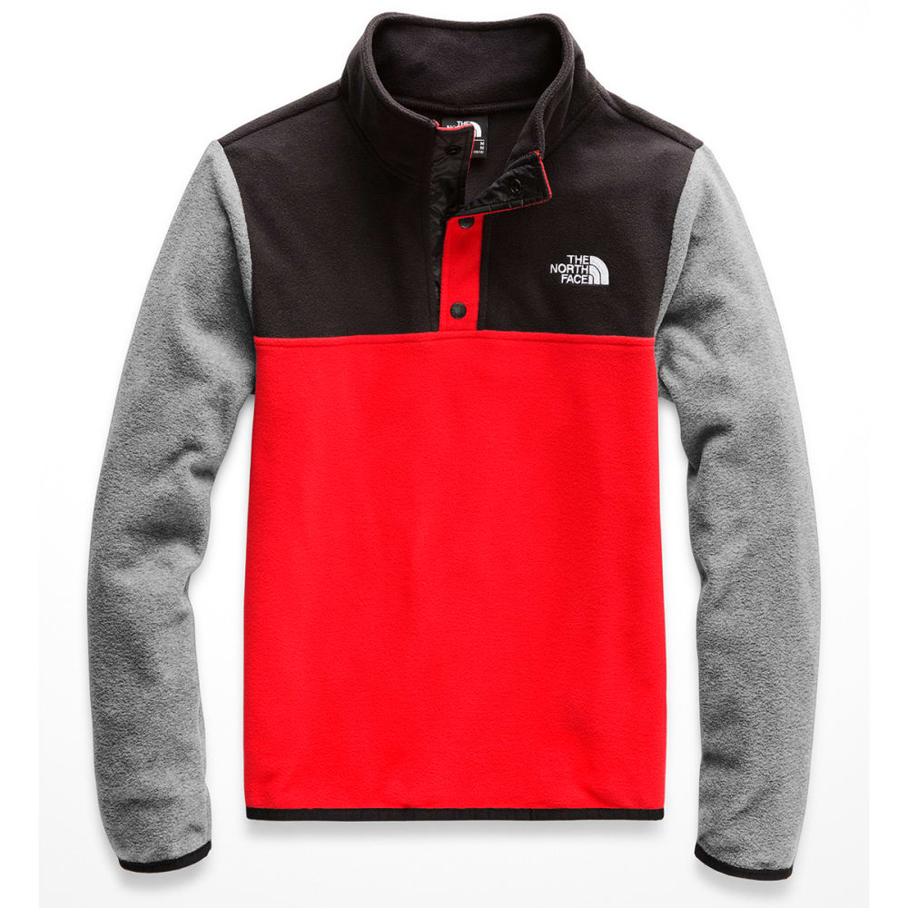 THE NORTH FACE Boys' Glacier 1/4 Snap Fleece Pullover - WU5 FIRERY RED TNF B