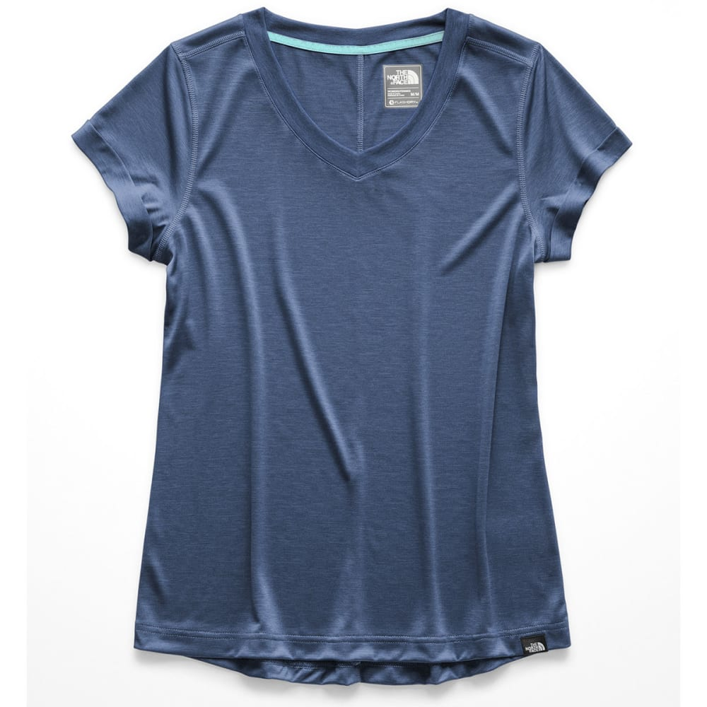 THE NORTH FACE Women's HyperLayer FD V-Neck Short-Sleeve Tee - AVM URBAN NAVY HTR