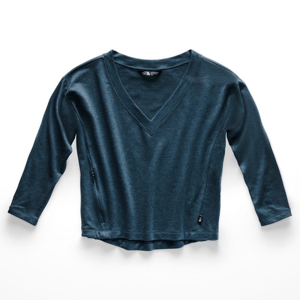 THE NORTH FACE Women's Bayocean V-Neck Long-Sleeve Crop Top - 1LG BLUE WING TEAL