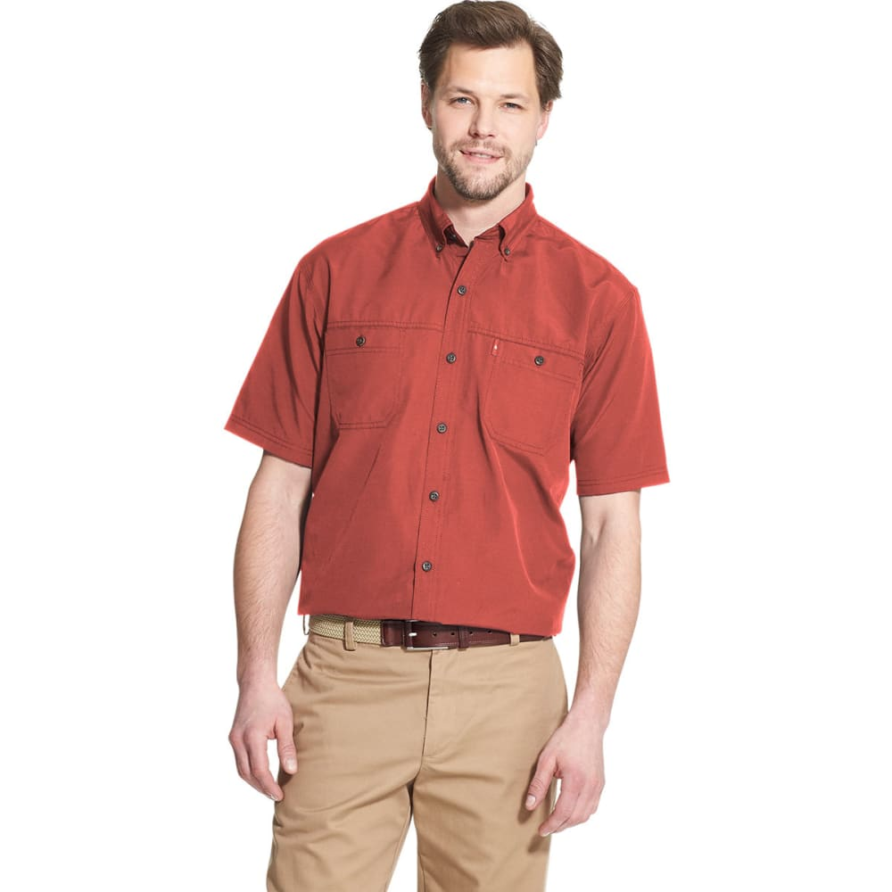 G.H. BASS & CO. Men's Bluewater Bay Fisherman's Short-Sleeve Shirt - CRANBERRY-623