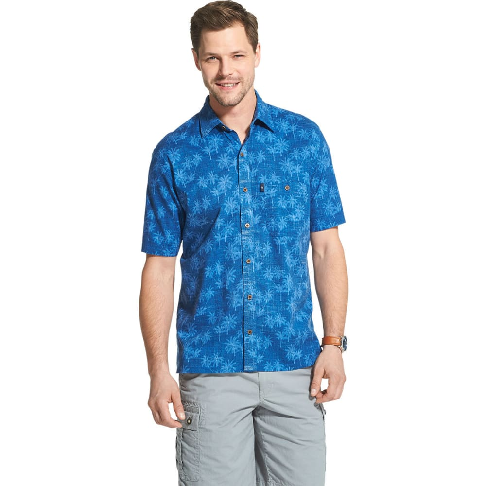 G.H.BASS & CO. Men's Short-Sleeve Salt Cove Palm Print Button Down Shirt - RIVERSIDE-422