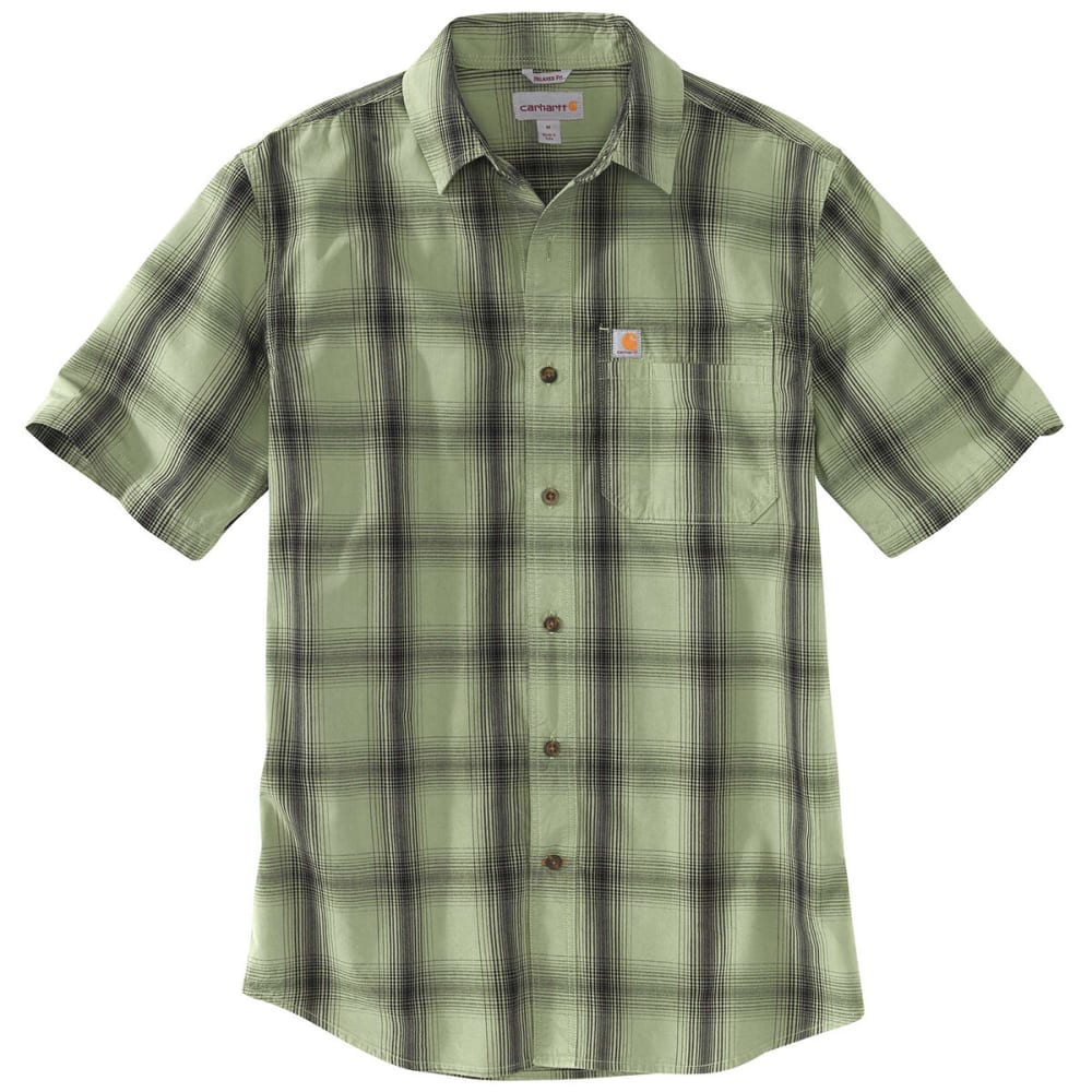 Carhartt Mens Essential Plaid Open Collar Short Sleeve Shirt