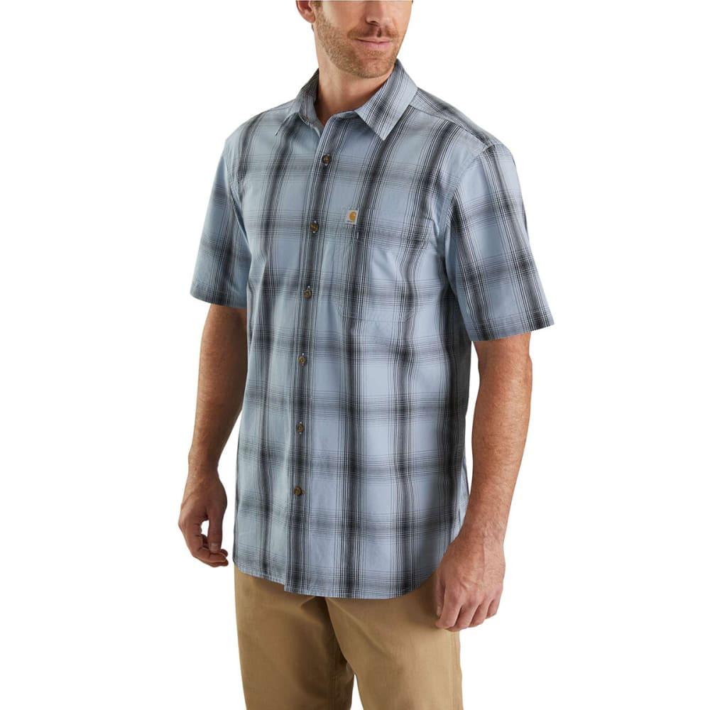 CARHARTT Men's Essential Plaid Open Collar Short-Sleeve Shirt - 430 DUSTY BLUE