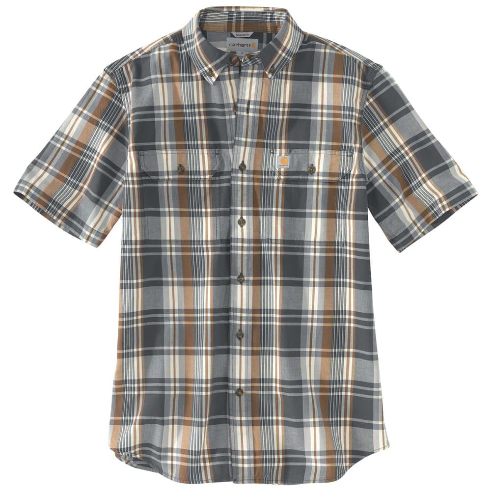 CARHARTT Men's 103553 Fort Plaid Short-Sleeve Shirt - 029 SHADOW