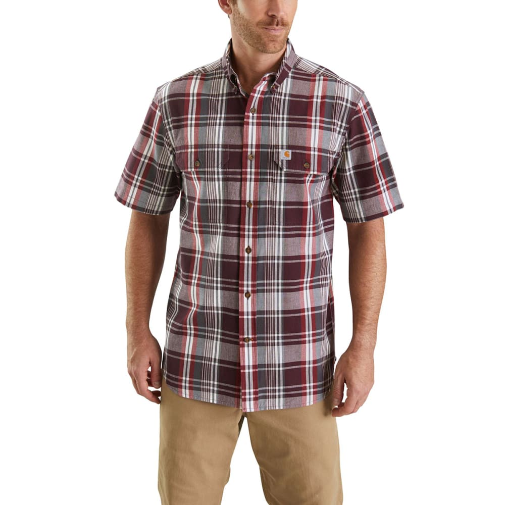 CARHARTT Men's 103553 Fort Plaid Short-Sleeve Shirt - 639 SUN DRIED TOMATO