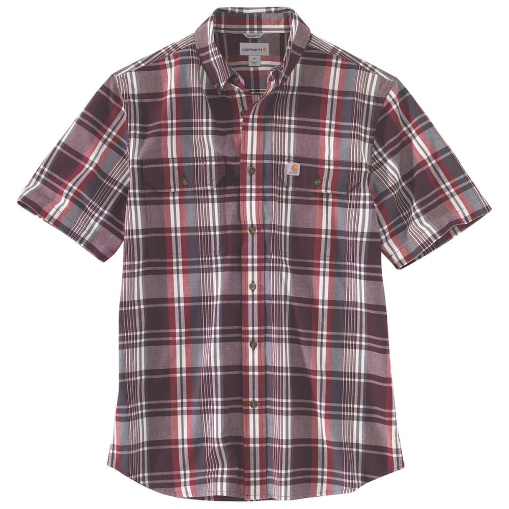 CARHARTT Men's 103553 Fort Plaid Short-Sleeve Shirt - 639 SUN DRIED TOMATO